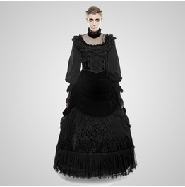 Gothic Black Layered Lace And Velvet Big Swing Skirt For Women