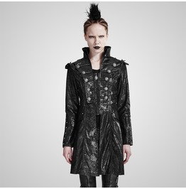 Punk Rock Black Leather High Collar Long Sleeves Coat For Women