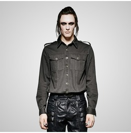Punk Gray Rugged Military Uniform Style Long Sleeves T Shirt For Men