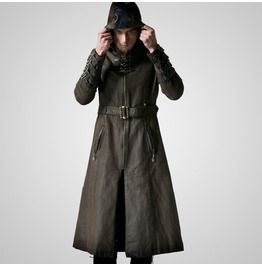 Punk rave military rock gothic trench coats with standing collar coats