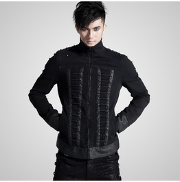 Punk Black Denim Closed Neck Long Sleeves Jacket For Men