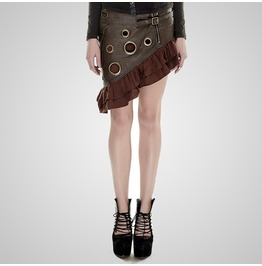 Steampunk Coffee Colored Metal Flounce Leather Skirt For Women