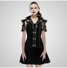 Punk Black Military Uniform Style Backless Dress For Women