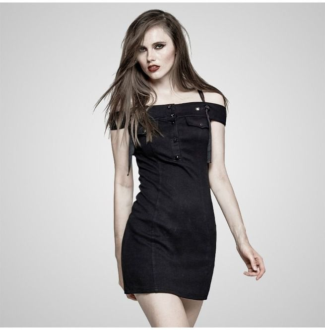 915e2bf0d1fb04 Punk Black Horizontal Off Shoulder Military Style Casual Dress For Women