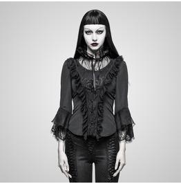 Gothic Black Quarter Sleeves Ruffled T Shirt For Women