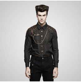 Punk rave steampunk coffee colored long sleeves stripe t shirt for men shirts