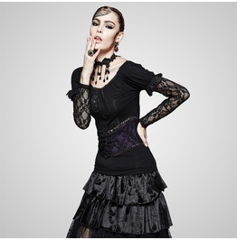 Gothic Black And Red Florals And Lace Dual Sleeves Blouse For Women