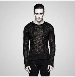 Punk rave punk black knitted long sleeves slim fit strappy t shirt for men shirts