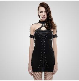 Punk Black Spiked Shoulders Dress For Women