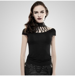 Punk Black Short Sleeves Bandage T Shirt For Women