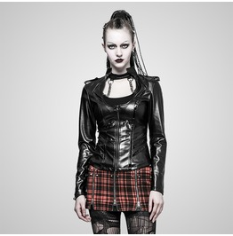 Gothic Black Military Style Leather Jacket For Women