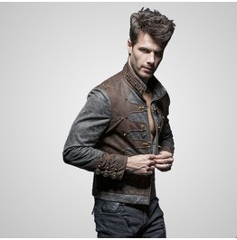 Steampunk Zipped Short Punk Jacket With Stand Up
