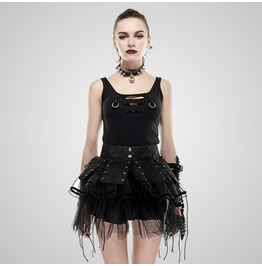 Punk Black Bandage Spiky Mini Skirt For Women