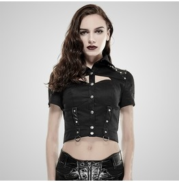 Punk Green Studded Leather Cropped Military High Collared Top For Women