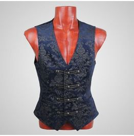 Punk rave fancy colorful printing western style gothic vest vests