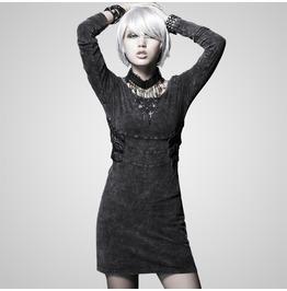 Punk Black Washed Denim Dress For Women