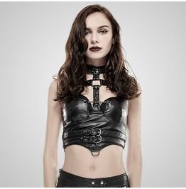 Punk Black Leather Cropped Vest For Women With Belts