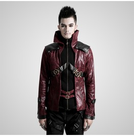 Gothic Red Vampire Collar Leather Jacket For Women