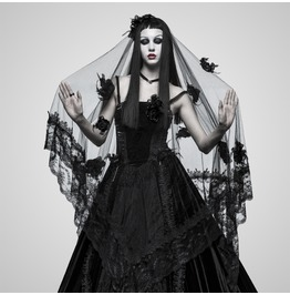 Gothic Black Mesh And Lace Bridal Veil For Women