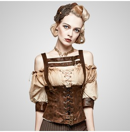 Steampunk Coffee Colored Leather Corset For Women