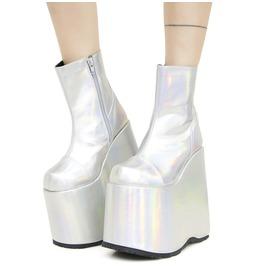 Demonia Slay 204 Hologram Rave Ankle Vegan Gothic Boots