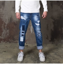 Distressed Patchwork Slim Straight Jeans 361