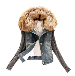 Vegan Fur Denim Spring Women Jacket