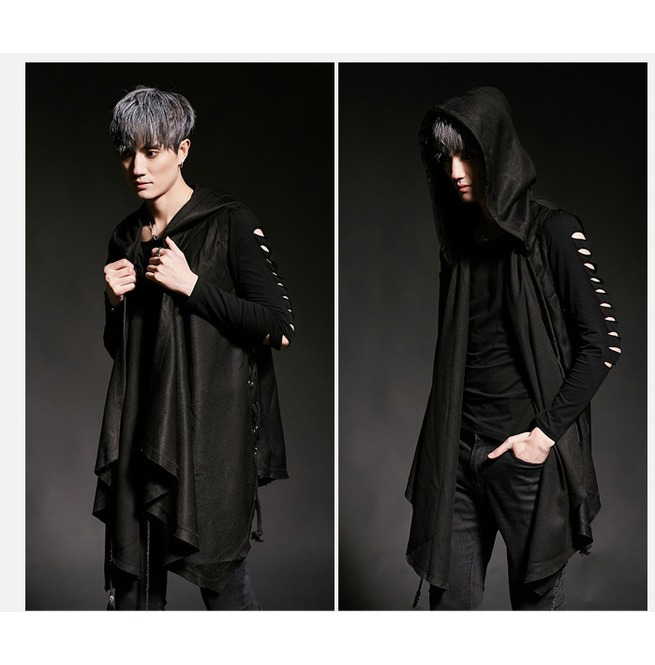 Men Vest Coat Hooded Gothic Punk Cardigan Slim Thin Sleeveless Sleeveless Jacket