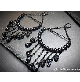 Black Pearl Earrings, Black Dangle Earrings, Gothic Pearl Hoop Earrings