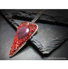 Heart Necklace, Ruby Pendant, Ruby Necklace, Real Ruby, Sterling Silver