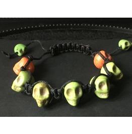 Skull Bracelet, Bright Colored Bracelet, Howlite Shamballa Bracelet