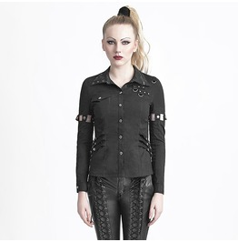 Punk Rock Black Two Way Buttoned Slim Fit Collared T Shirt For Women