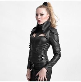 Punk Rock Black Leather Futurism Warrior Long Sleeves Slim Fit Jacket For Women
