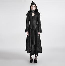 Gothic Black Cracked Print Hooded Dark Angel Long Coat For Women