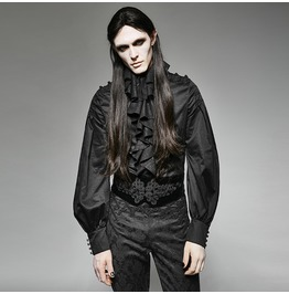Gothic Black Ruffled Collar Slim Fit Long Sleeves T Shirt For Men