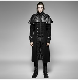 Gothic Black Wool Military Uniform Long Sleeves Coat With Pu Leather Drape For Men