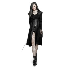 Punk Rock Black Knitted Hollowout Back Drawstring Detailed Long Sleeves Coat For Women