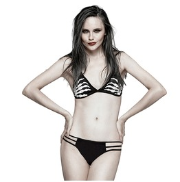 Punk Rock Black Skeleton Hand Print Swimming Bra For Women
