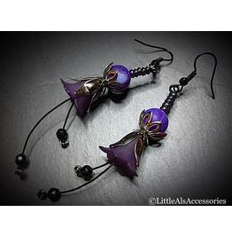 Purple Flower Earrings, Gothic Flowers, Gothic Flower Earrings, Gothic Gift