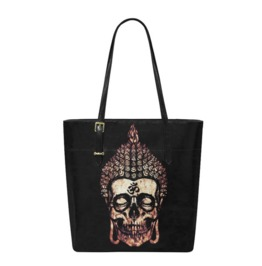Buddha Skull Leather Tote Bag