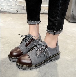 Women Vintage Lace Up Round Toe Patchwork Thick Heels Loafers