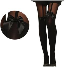 Vintage Black Bowknot Harajuku Suspenders Sexy Womens Tights