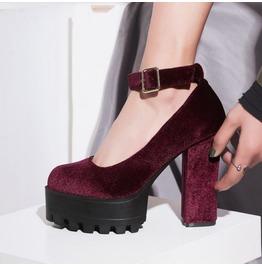 Velvet Pump Round Toe Spring Women Heels