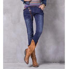 Boho Embroidery Vintage Denim Harem Women Jeans