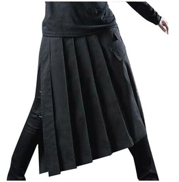 Asymmetric Long Belt Punk Goth Loose Black Men Shorts Skirt