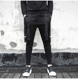 Tape Zipper Loose Punk Goth Splicing Joggers Mens Harem Pants