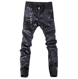 Men Leather Pants Fashion Parade Punk Rock Motorcycle Pants Zipper Splice