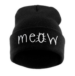 Autumn Winter Knitting Embroided Harajuku Goth Meow Cat Wool Women Hat
