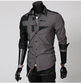 Shirts Men Punk Rock Casual Red / Grey Shirt New Long Sleeve Casual