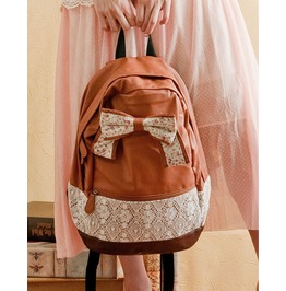 Fashion Sweet Brown Shoulder Bag Backpack Bag With Bow
